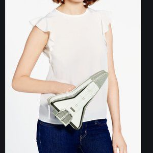 kate spade over the moon spaceship clutch purse